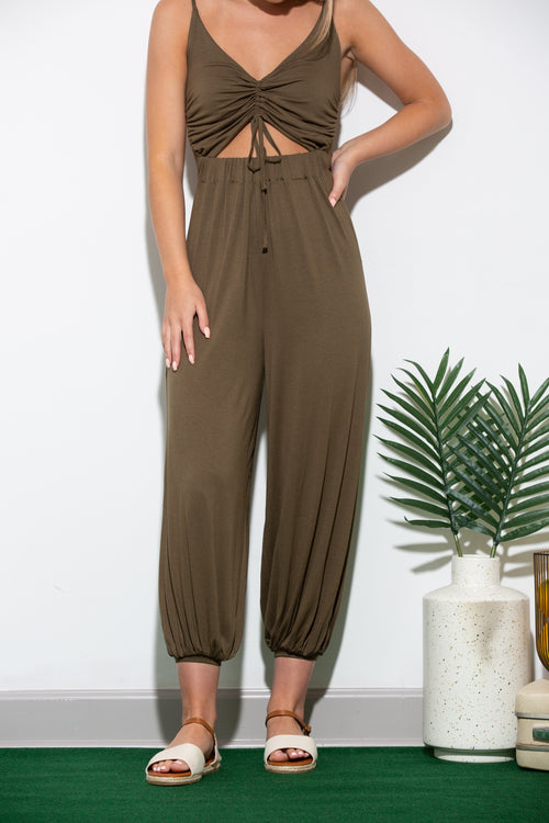 Thinking Of You Olive Jumpsuit