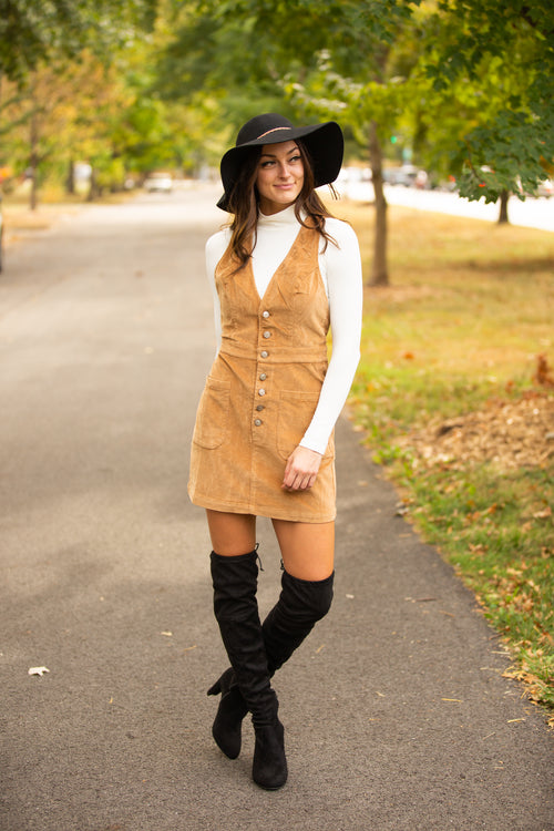 Seasons Change Corduroy Overall Dress