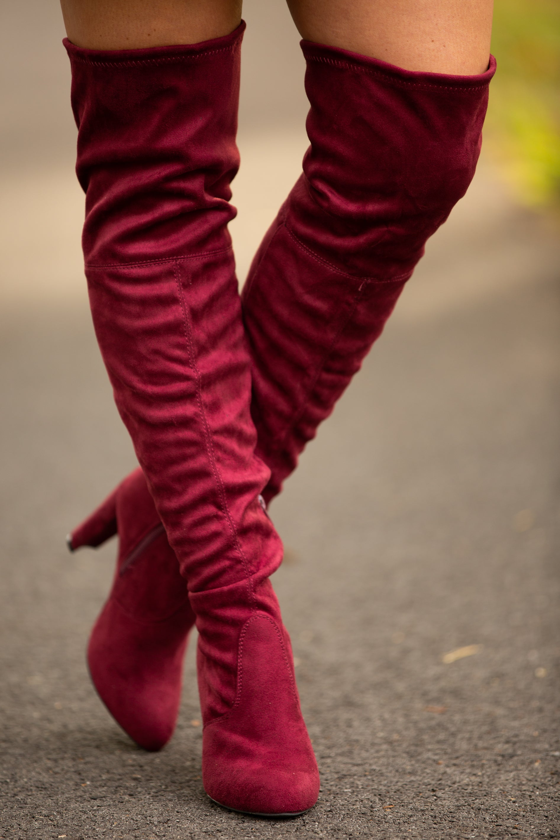 Sadie Burgundy Suede Over-The-Knee Boots - impromptu boutique