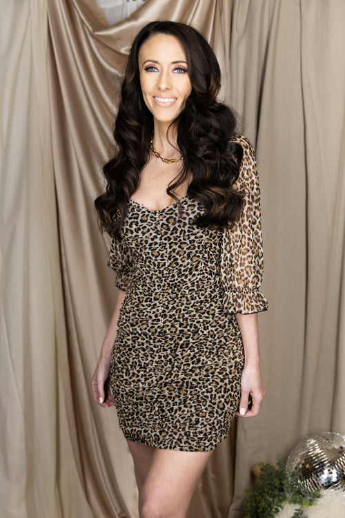 Come Find Me Ruched Mesh Leopard Dress