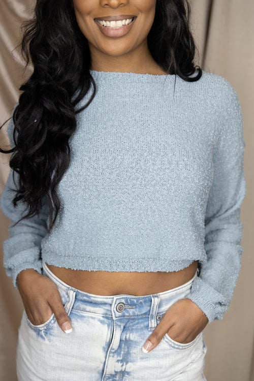More To Adore Open Back Sweater: Sky Blue