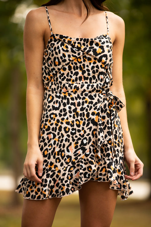 Uptown Cheetah Wrap Dress