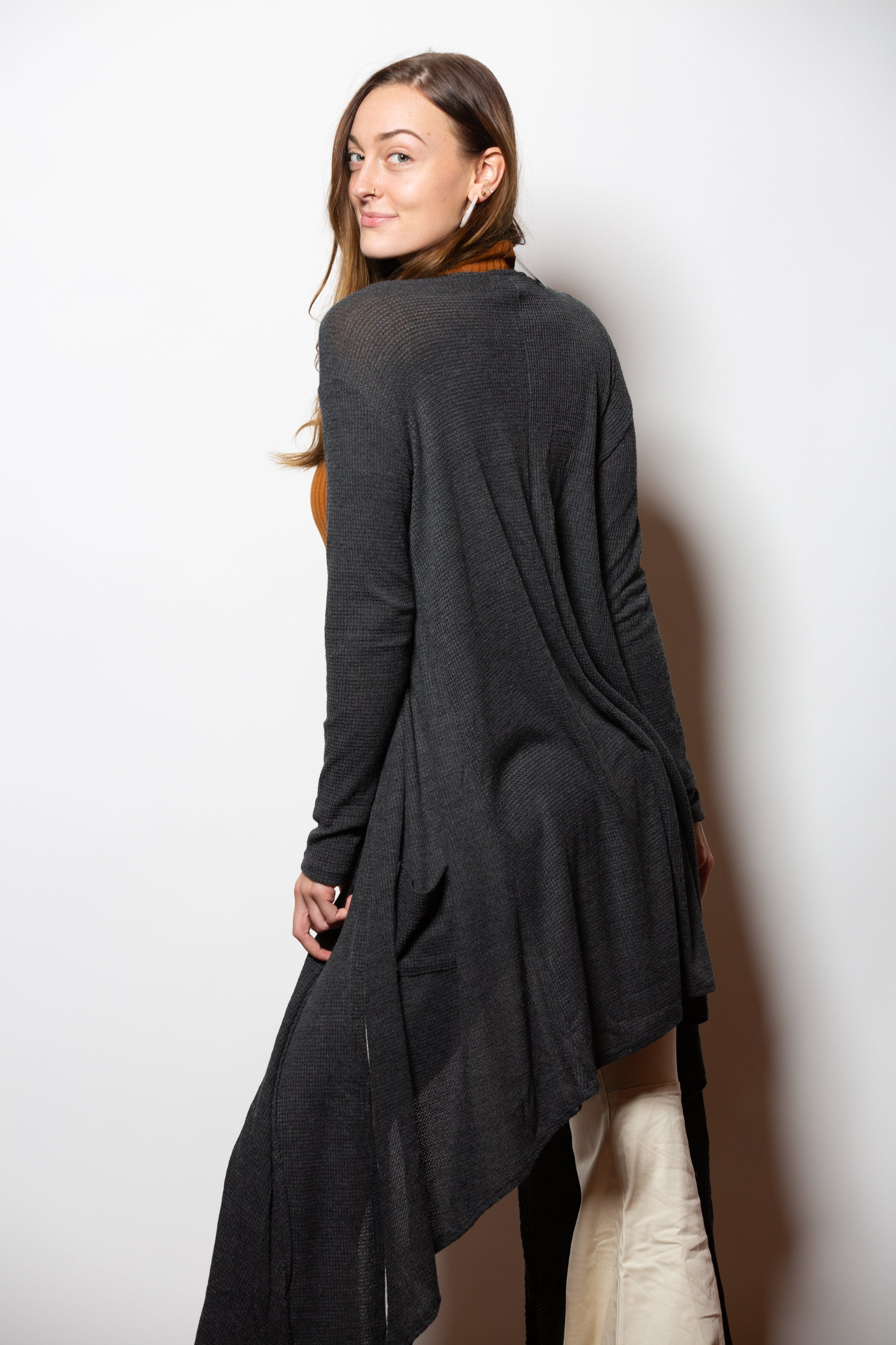 Second Chance Textured Charcoal Duster Cardigan - impromptu boutique