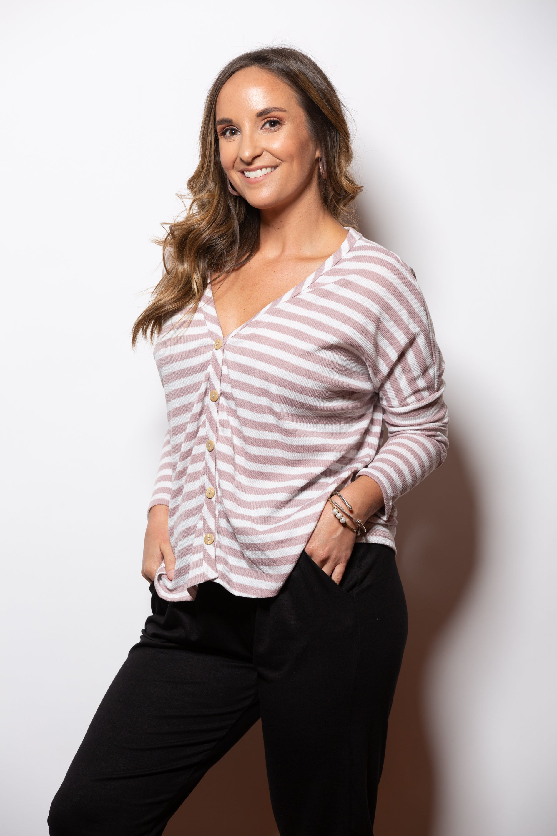 Time With You Mauve Stripe Button Down