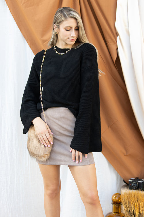More To This Textured Suede Mini Skirt: Taupe