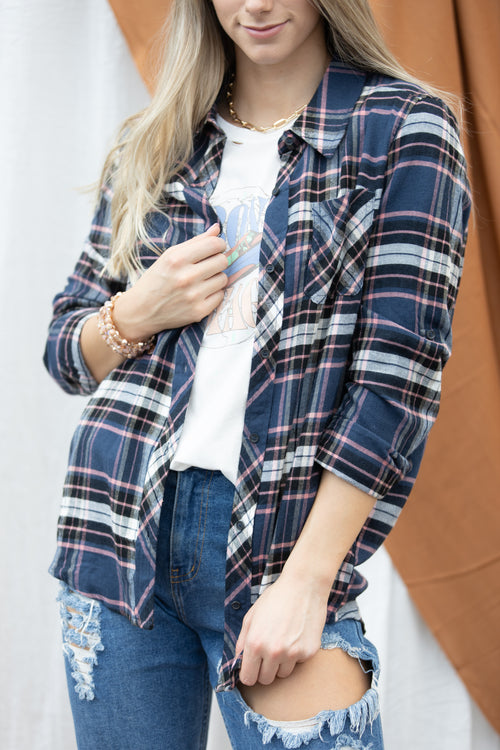 Take It From Me Navy Plaid Button Down