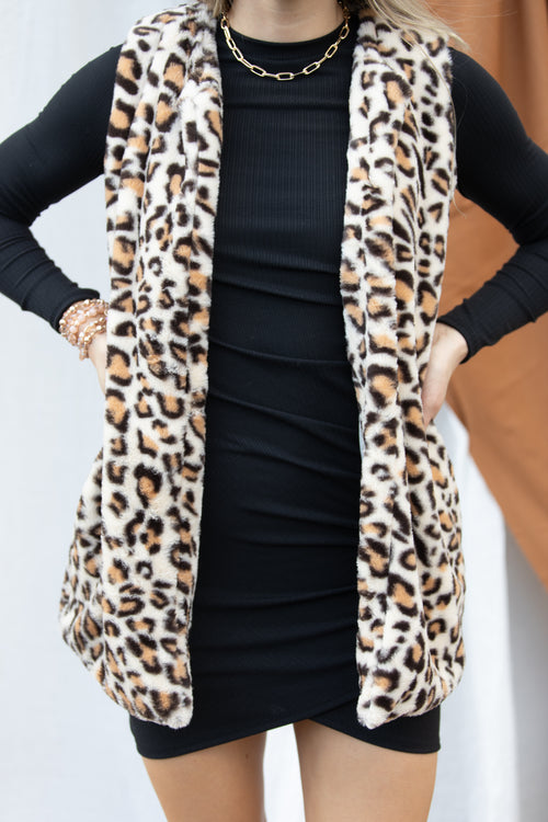 Dare To Be Leopard Faux Fur Vest