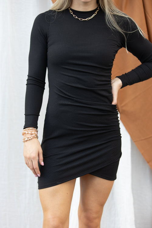 Just A Fling Long Sleeve Black Bodycon Dress