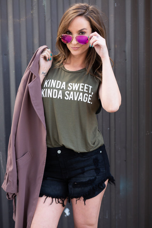Kinda Sweet Kinda Savage Graphic Tank - impromptu boutique