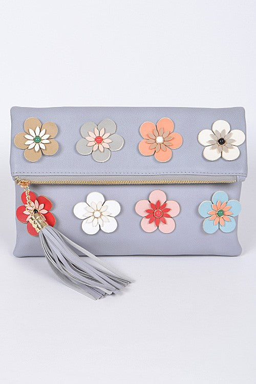Spring Forward Grey Floral Clutch