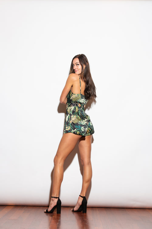 Need Your Love Tropical Satin Belted Romper