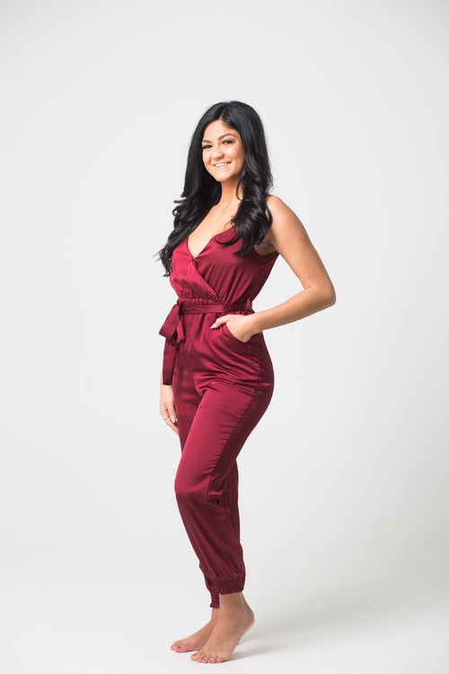 Step On The Scene Satin Wine Jumpsuit