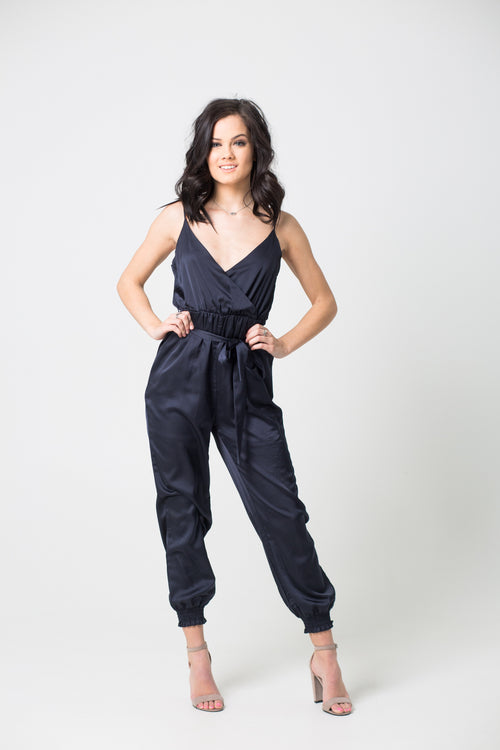 Step On The Scene Satin Navy Jumpsuit