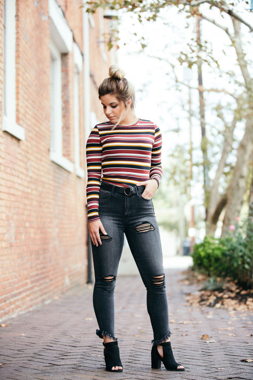 Can't Go Wrong Stripe Burgundy Plum Crop - impromptu boutique