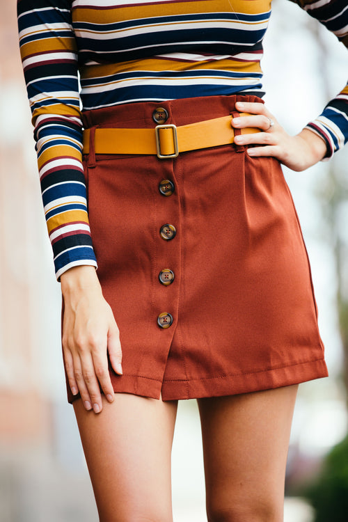 Turn Around Rust Button Front Skirt
