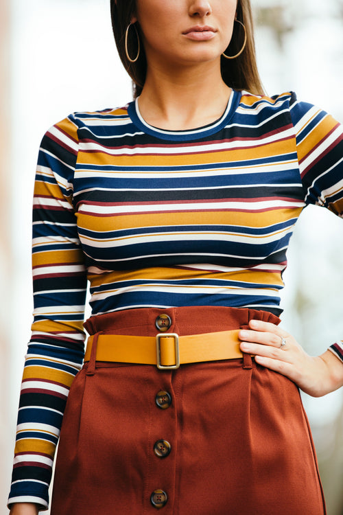 Can't Go Wrong Stripe Navy Mustard Crop - impromptu boutique