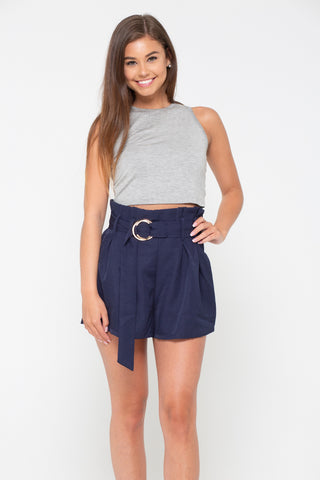 Short Story Cut Off Black Denim Shorts