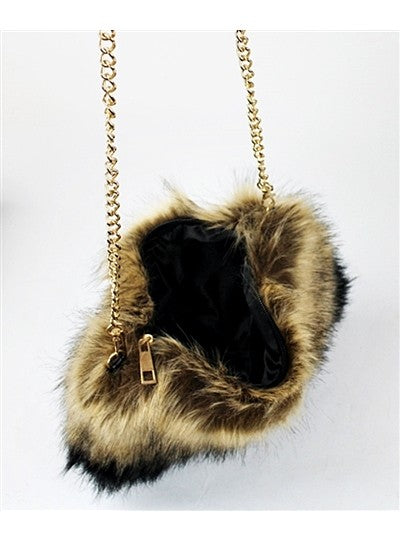 Say The Word Faux Fur Clutch