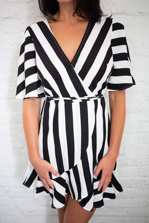 Don't Hold Back Stripe Wrap Dress - impromptu boutique