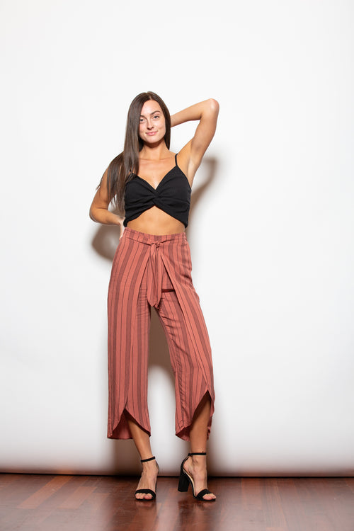 Have It All Stripe Wrap Pants - impromptu boutique