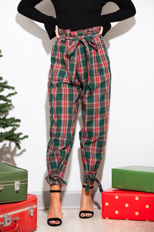 Naughty Or Nice Paper Bag Plaid Pants