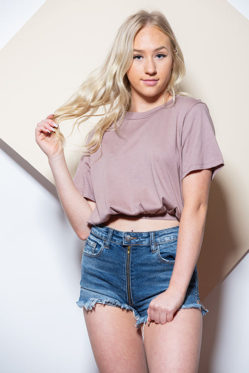 Our Hideaway Mauve Crop Tee
