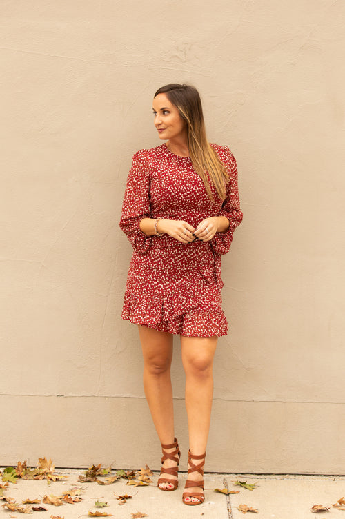 Forever With You Burgundy Floral Dress