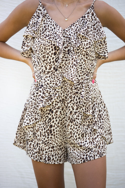 We Got The Beat Leopard Romper