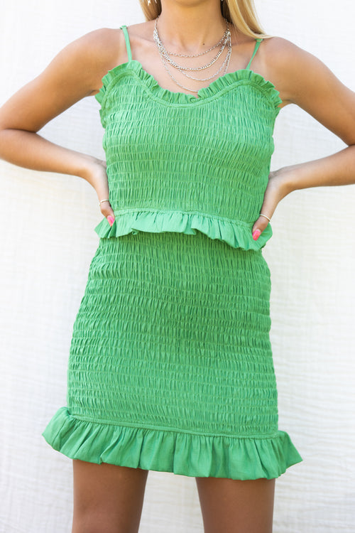 Call Me Up Green Smock Dress