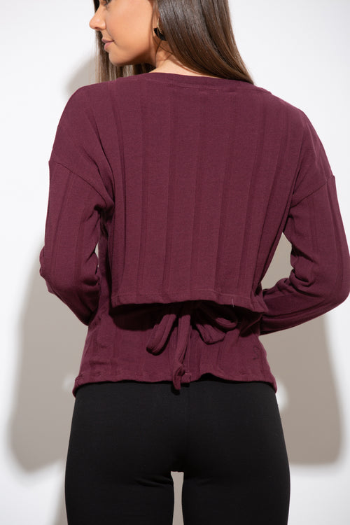 Give It Your All Long Sleeve Burgundy Top - impromptu boutique