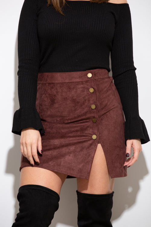 It's A Date Chocolate Suede Skirt - impromptu boutique