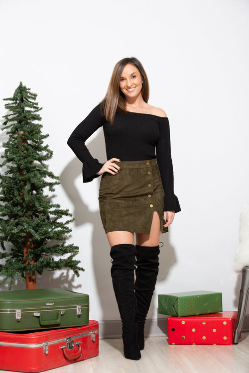 It's A Date Olive Suede Skirt - impromptu boutique