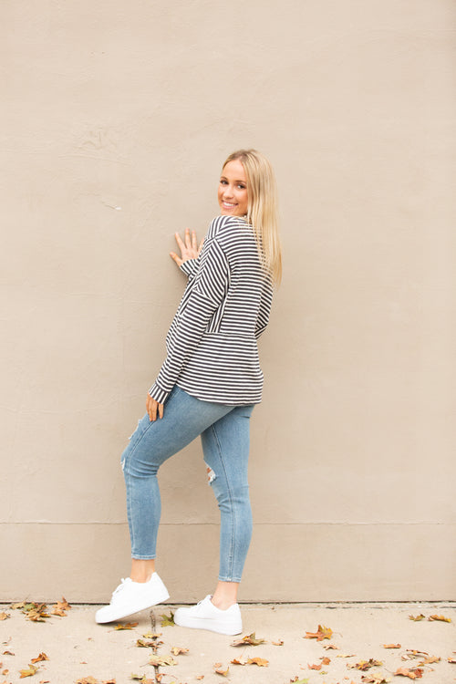 Found You Charcoal Stripe Henley Top