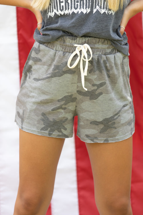 Top Rank Casual Camo Shorts: Gray