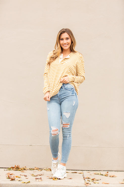 Found You Mustard Stripe Henley Top