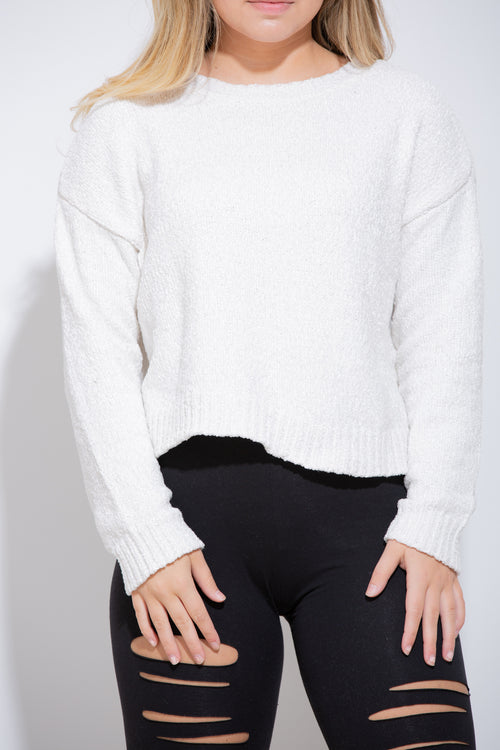 Lead Me On Fuzzy White Sweater - impromptu boutique