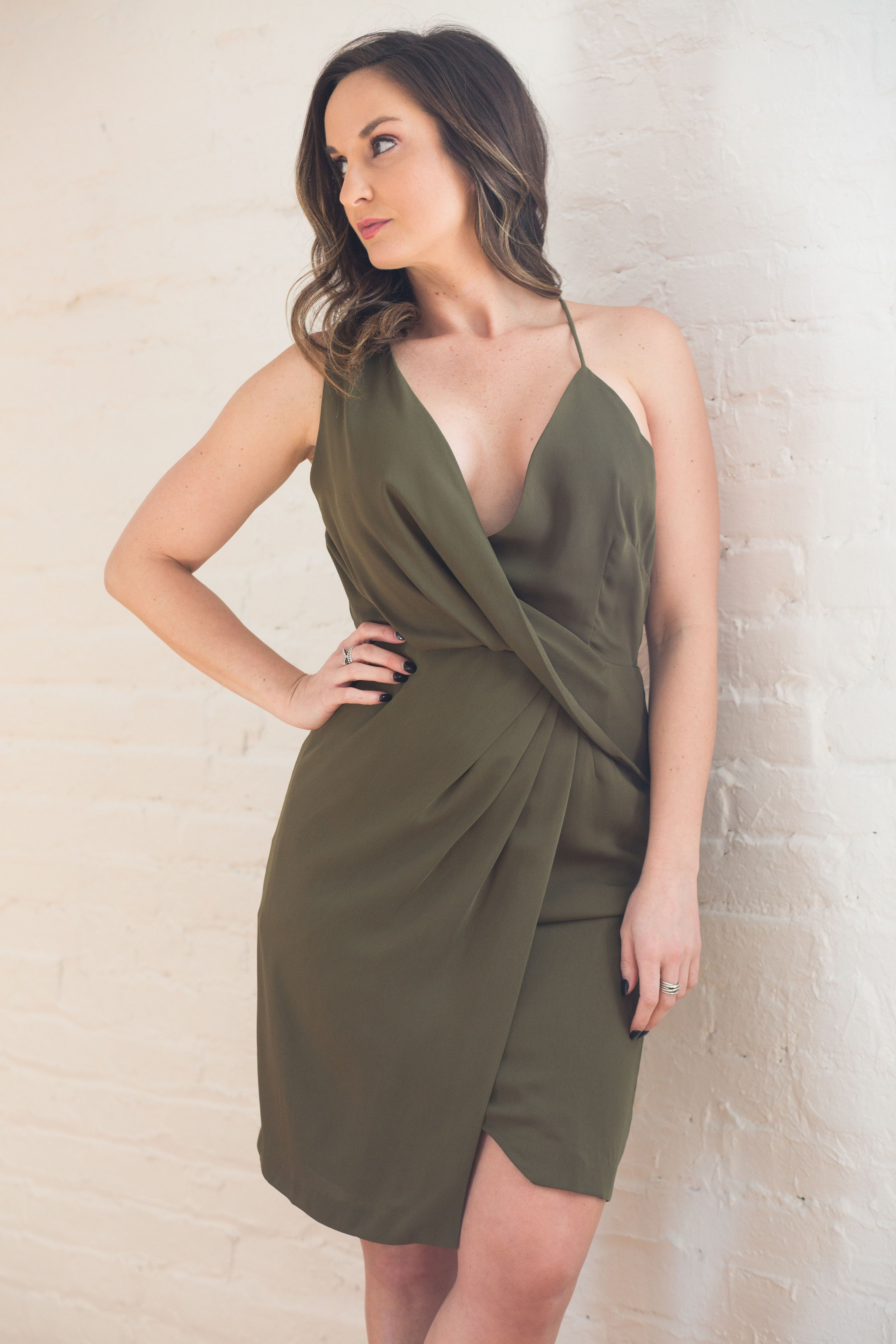 Hopeless Romantic Asymmetrical Olive Dress - impromptu boutique