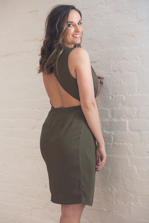 Hopeless Romantic Asymmetrical Olive Dress