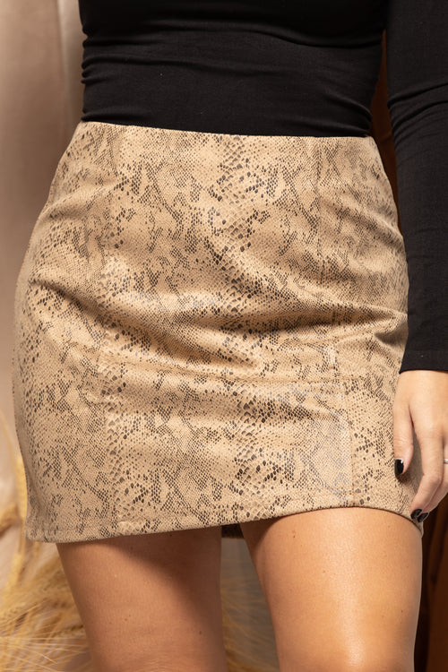 Out Of Here Snake Skin Mini Skirt