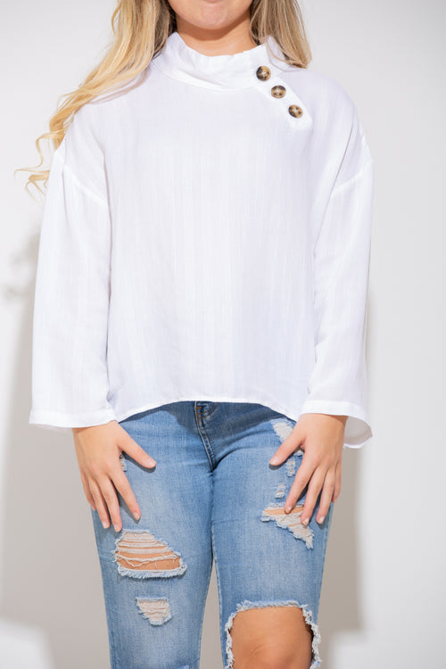Lighten The Mood White Long Sleeve - impromptu boutique