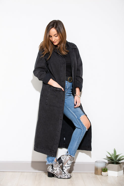 Stormy Night Charcoal Denim Overcoat
