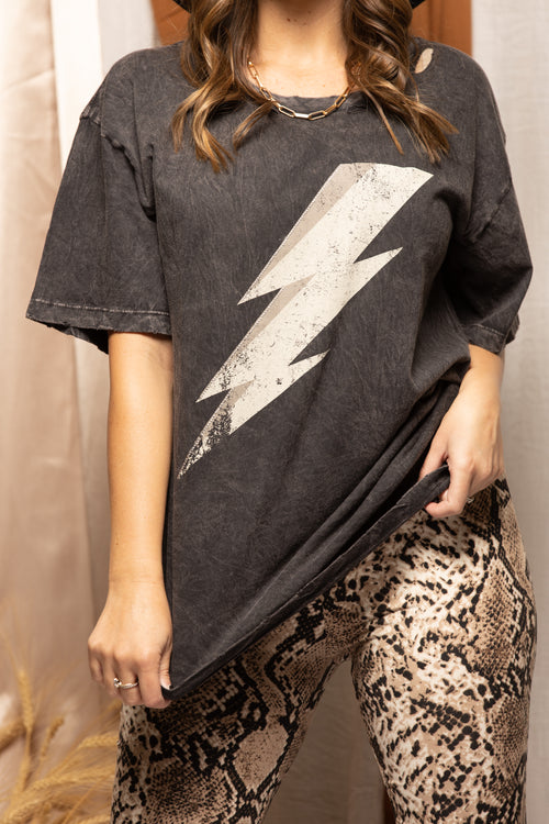 Charcoal Lightning Bolt Graphic Tee