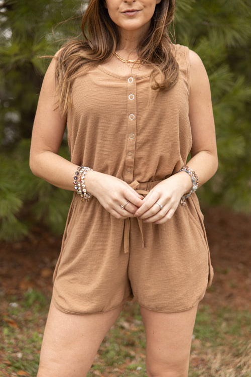 On The Dock Textured Beige Romper