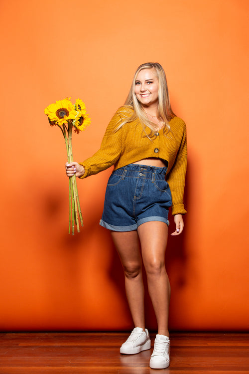 Keep Up Mustard Cropped Button Sweater - impromptu boutique