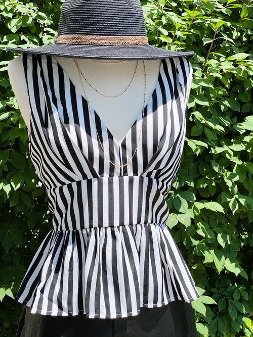 Story To Tell Black And White Stripe PeplumTop