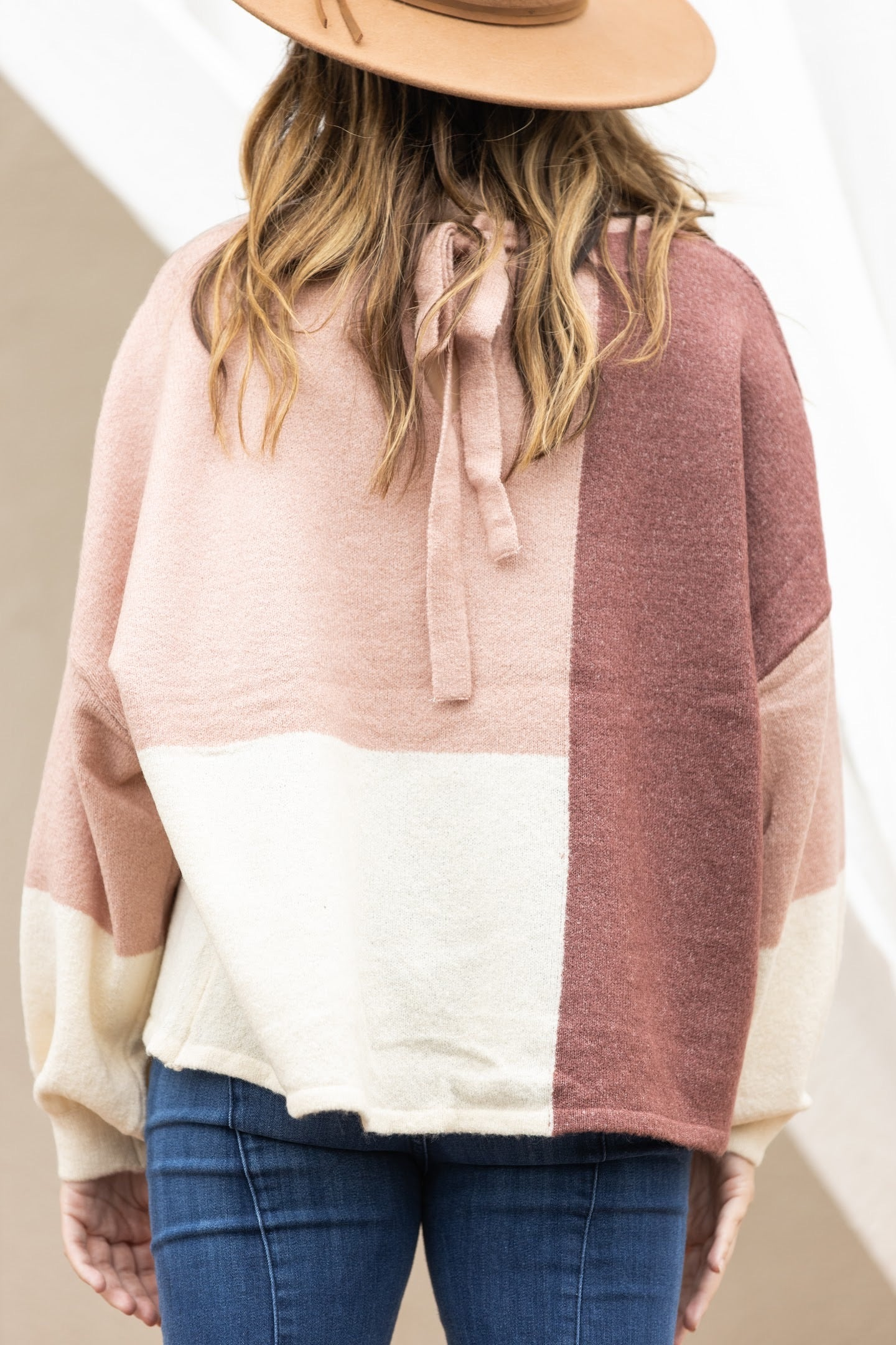 Weekend Getaway Plush Color Block Sweater: Mauve