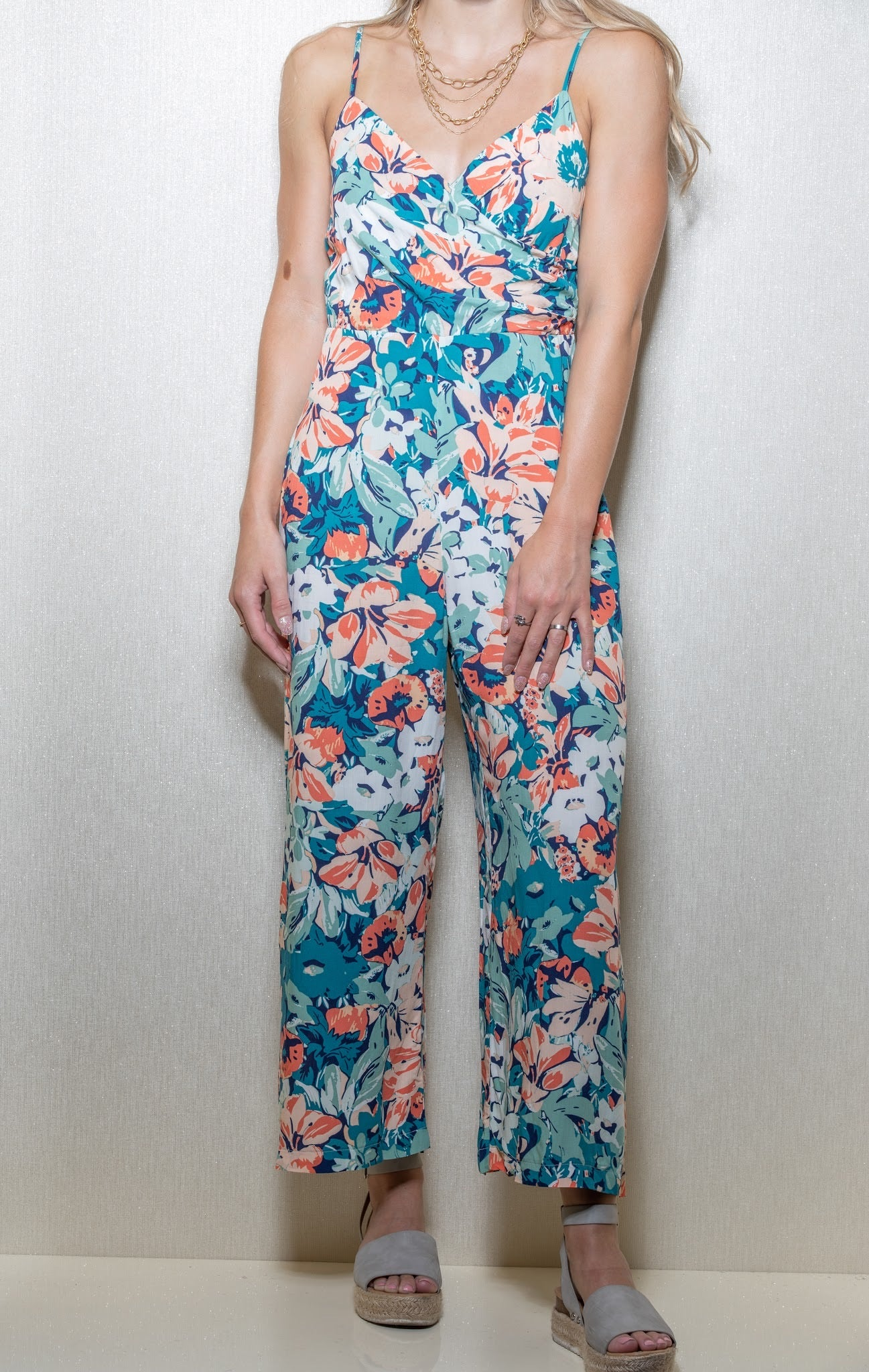 Out Of Mind Teal & Coral Jumpsuit