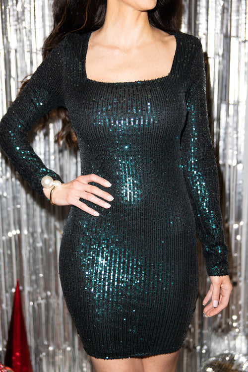 Hoping For More Emerald Sequin Dress