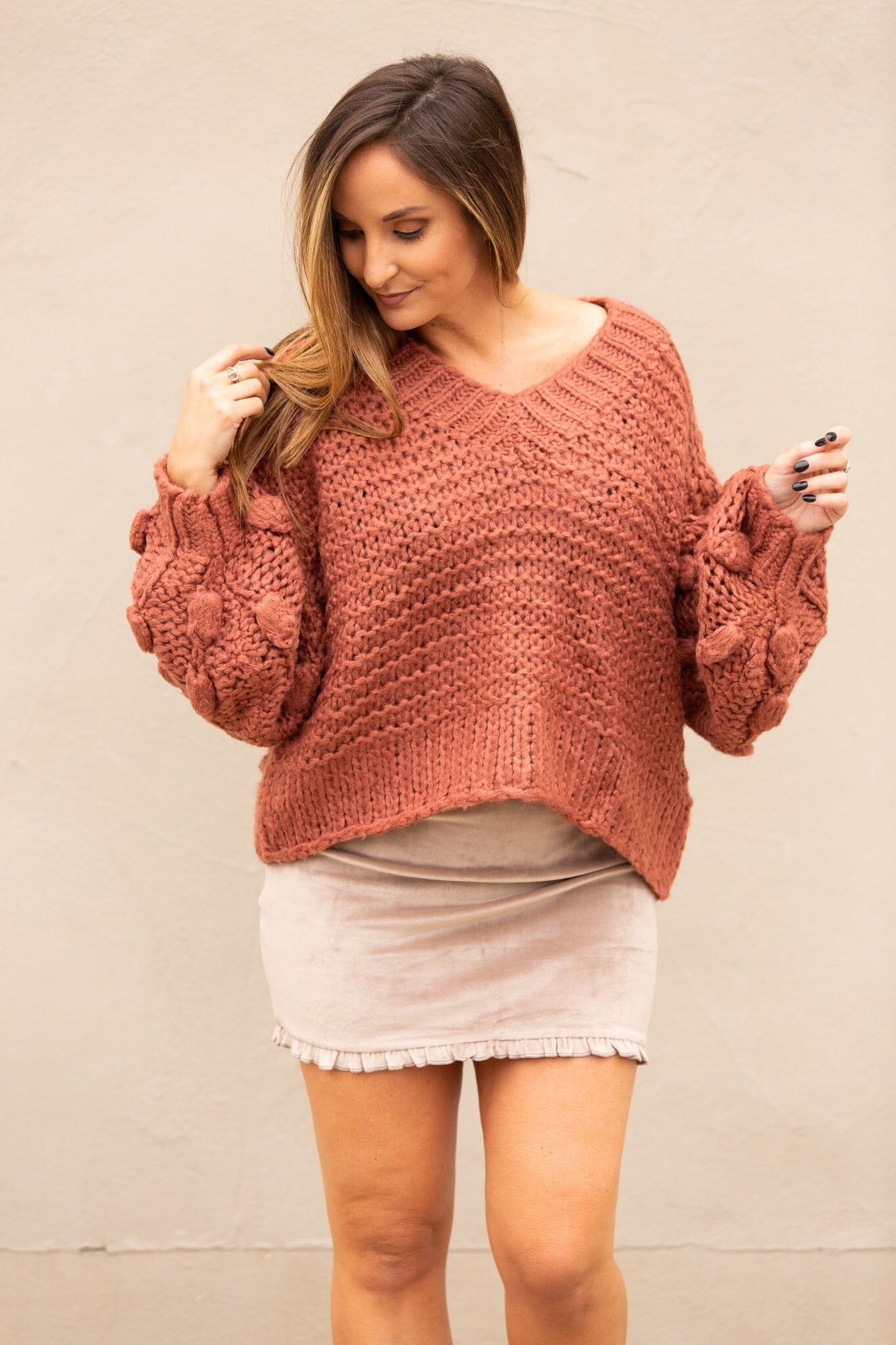 Stay Cozy Rust Pom Sweater