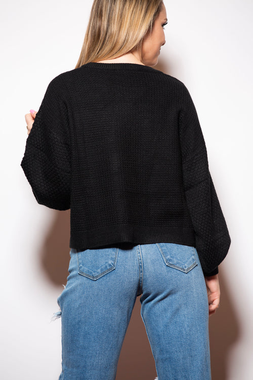 The One You Want Black Cropped Sweater